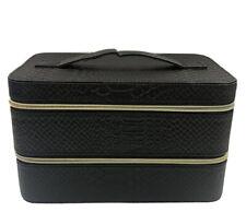Lancome Large Black Hard Train Case Zip Makeup Cosmetic Bag Organizer