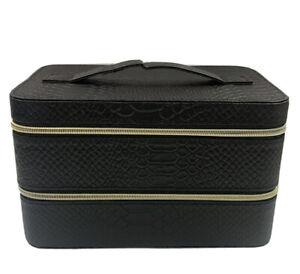Lancome Large Black Hard Train Case Zip Makeup Cosmetic Bag Organizer 9x 5.5x5.5