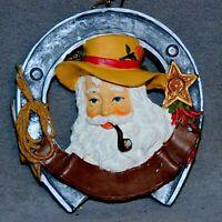 Christmas Ornament WESTERN TEXAS Santa HorseShoe Pipe Star RANA'S USA SELLER