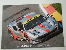 CARD WEC / LE MANS SERIES SILVERSTONE 2018 : SPIRIT OF RACE FERRARI #54 - SIGNED