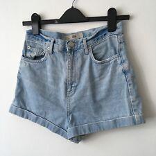 Topshop Mom Jeans Denim Shorts Bleached High Waisted Vintage Style 10 Grunge
