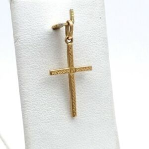 18K Gold Skinny Etched Cross Charm Pendant