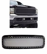 1999 2004 Ford F250 F350 Super Duty Gloss Black Steel Mesh Rivet Grille Grill