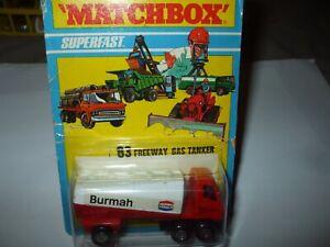 Matchbox Lesney Superfast #63 Freeman Gas Tanker on rarer blister card MOC!