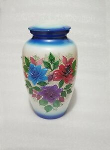 Aluminum Hand Painted Adult Cremation Urn In Multi Color