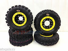 Hiper CF1 Beadlock Wheels GBC XC Master Tires Front/Rear Kit LTR450 KFX450 450R