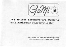 GaMi 16mm Subminiature Camera Instruction Manual photocopy