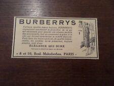 Publicité ancienne juin 1928 BURBERRYS Paris mode vêtement manteau Pub 7 x 14