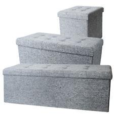 Sitzwürfel Hocker Leinen Design Grau mit Ziernieten abgesteppt Sitzhocker Truhe