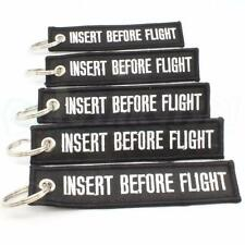 INSERT BEFORE FLIGHT KEYCHAIN QTY= 5 BLACK/white RING TAGS CABIN CREW PILOT