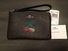 NWT $95 Coach Cherry Signature C Corner Zip Wristlet in Brown & Black 31891