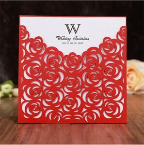 50/100PCS Rose Hollow Laser cut Pocket Wedding Invite Invitation Card Printing