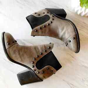 "Loeffler Randall Leather Studded Boots 9.5 Round Toe Gray Brown 3.75"" Block Heel"