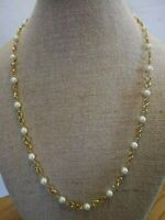 """Vintage Napier 29"""" Gold Tone and Faux Pearl Necklace Good Quality and Weight"""