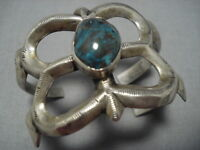 RARE!! VINTAGE NAVAJO RED MOUNTAIN TURQUOISE STERLING SILVER BRACELET