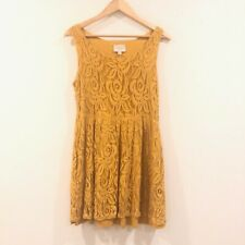 Moulinette Soeurs Anthropologie M Medium Sleeveless Lace Yellow Dress
