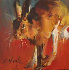 Original Oil Painting Brown hare North American Rabbit art by x.thomas 6x6""