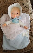 "VINTAGE 1980 ORIGINAL BABY HOLLY HOBBIE KNICKERBOCKER Blue Doll 14"" W/BUNTING"