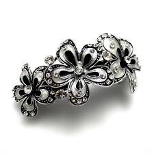 """Arched 3"""" Silver Black Art Deco Rhinestone Crystal Flowers Barrette Hair Clip"""