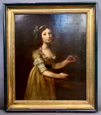 19thC Antique VICTORIAN Era YOUNG English LADY PORTRAIT Old OIL PAINTING
