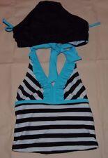 Girl's CIRCO Black White Aqua Striped Swimsuit Set Size XS NWT UPF 50+