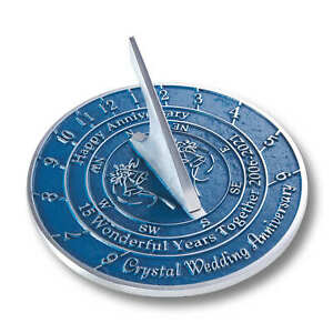 15th Crystal 2021 Wedding Anniversary Sundial Gift By The Metal Foundry