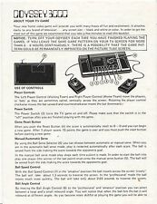 [MANUAL] Odyssey 3000 Console Instruction Booklet