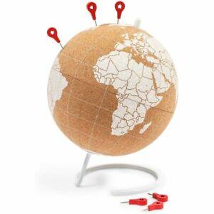 Mini Cork Globe, 6 Push Pins, Educational World Map for Desktop (5.9 x 7.87 in)