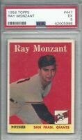 1958 Topps baseball card #447 Ray Monzant, San Francisco Giants graded PSA 5
