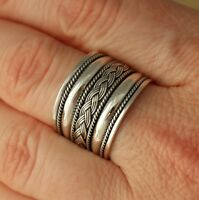 925 Sterling Silver Bali Design Wide Band/Thumb Ring UK Hallmarked Jewellery