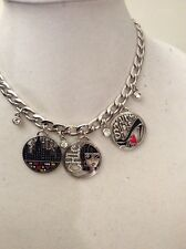 """Brighton """"Fashionista"""" Necklace -3 Enamel Charms  4 Dangling Crystal Charms Sale"""