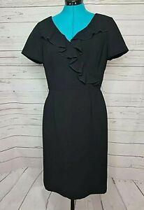 TAHARI ARTHUR S. LEVINE womens size US 8 AU 12 black ruffle neck sheath dress