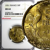 France Aluminum-Bronze 1951 50 Francs NGC MS64 KM# 918.1