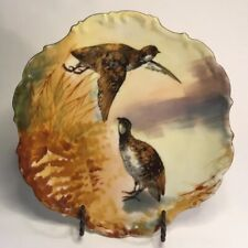 "Antique French Art Wall Plate by Flambeau of Limoges ""Pair of Quail"" c.1890+"