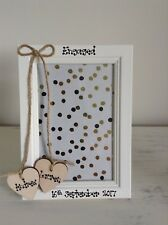 Wedding Engagement Photo Frame Personalised 4 x 6 Wooden Hearts Wedding Gift