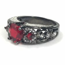 Heart Shaped Ruby Ring Sterling Silver Setting Size 8.5