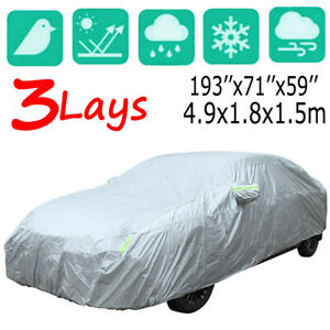 3 Layer Full Car Cover Waterproof All Weather Protection Fits Midsize Sedans 3XL