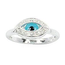 Bague T60 Oeil Bleu Pavé de Diamant Cz Argent Massif 925 Rhodié Dolly-Bijoux