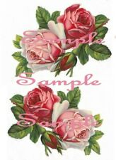 Shabby Roses Pink BIG Waterslide Decals