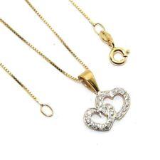DONNE 18ct 18 carati Oro Ciondolo Doppio Cuore + Set catena con diamanti