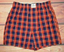 Mens American Eagle Plaid Orange Blue Boxer Shorts Size Xs (26/28)