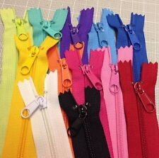 "WHOLESALE LOT OF 12 LONG PULL HANDBAG ZIPPERS 14"" Bright Colors #4 (5.1mm) Nylon"