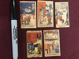 5 LITTLE TRAMP STRIP CARDS CHARLIE CHAPLIN