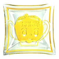 Vintage Glass Tea Bag Holder Dish I Will Hold The Teabag Yellow Teapot 2.5""