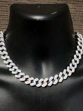 "Solid 925 Sterling Silver 15mm Miami Cuban Chain 18"" 20"" Choker 80ct Lab Diamond"