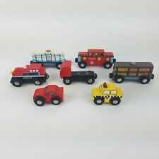 Lot of 7 Wooden Cars Magnetic Train Cars & Trucks Compatible w/Name Brand Trains