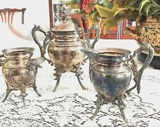 3 PCS old RARE VICTORIAN SILVERPLATE COFFEE SUGAR, CREAMER & EXTRA LIDDED BOWL