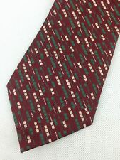 True Vintage Mens Necktie Kipper Wide Neck Tie Maroon Green Brown Jacquard Strip