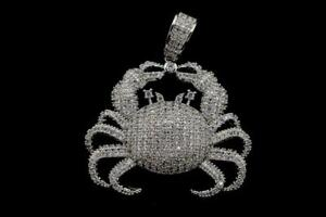 14K White Gold Plated Micro Pave CZ Fashion Hip Hop Crab Pendant with Rope Chain