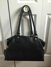 Cole Haan Black Leather Satchel Purse Gold Hardware Handbag Fringe W/ Dustbag